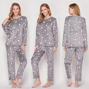 NEW Grey Polar Bear Plush Fluffy Pajama Lounge Set